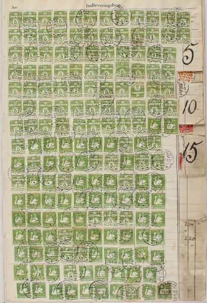 1935-1938. Postal bokk with lots of canc. stamps