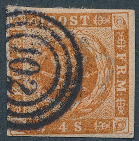 "GUDHJEM. Numeral-canc. 102. ""Bøgh-stroke"" on 4 sk. 1854"