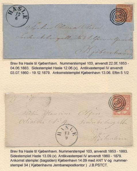 HASLE. 2 forsendelser frankeret med hhv. 4 sk. 1854 og 4 sk. 1864 fra Hasle til København