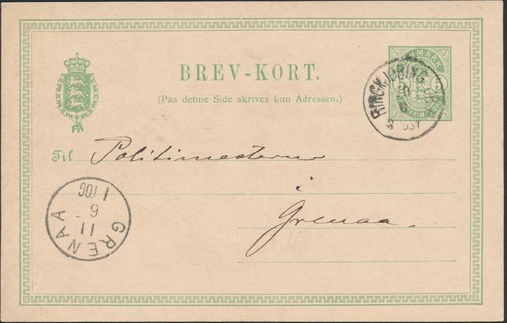 RINGKJØBING JB.P. Sjældent lapidarstempel på brevkort til Politimesteren i Grenaa. 10.6.1893