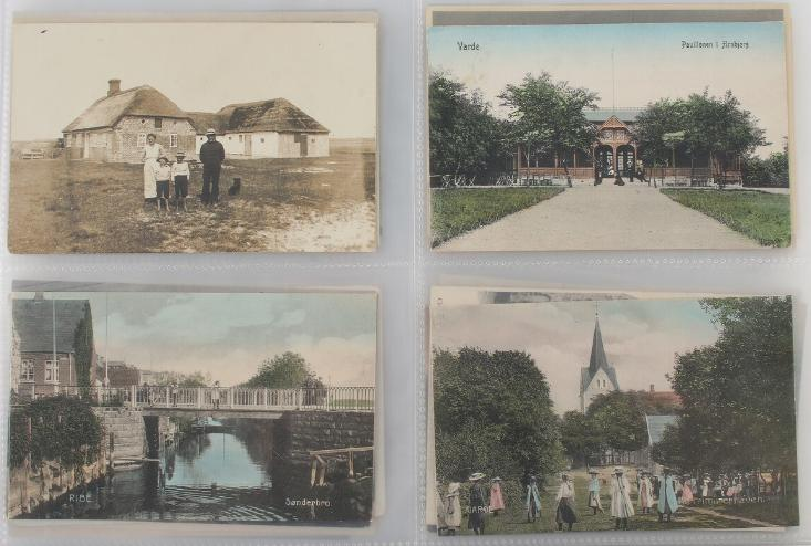 Postcards. Jutland. Box with 3 large binders with more than 800 postcards form period ca. 1900-45. Please se scan's