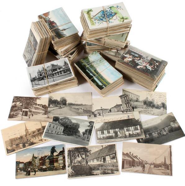 Postcards. Box with circa 1200 old danish postcards