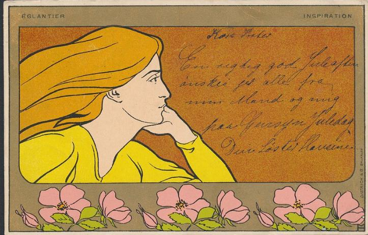 Art Nouveau postcard used in Danmark in 1905. Printed in Belgium