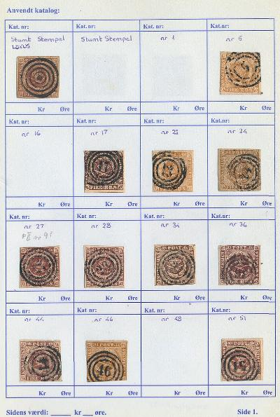 Denmark. 1851-1864. Small booklet with 23 copies 4 RBS incl. LUX-canc. on Ferslew, many issues from 1854, 1858, 1863 and 1864
