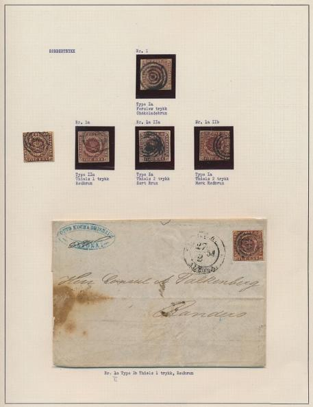 Danmark. 1851-1955. Samling opsat på plancher i 3 ringbind med en del skilling