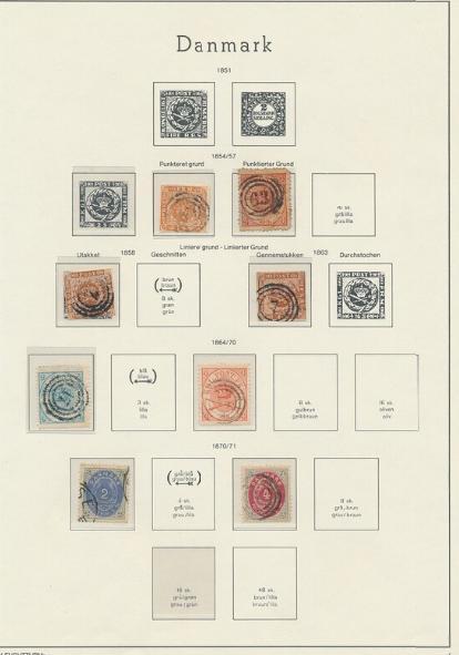 """Danmark. 1854-2003. Stemplet samling i 2 Leuchtturm album med lidt skilling, tofarvet, konger, posthus, """"back of book"""". Se fotos"""