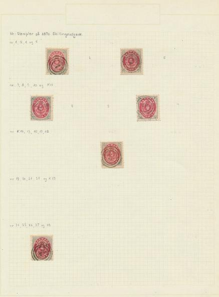 Denmark. Numeral cancellations on 4 sk. 1870. 8 albumpages with a total of 54 ex