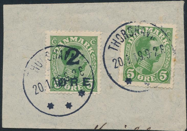 1919. 2/5 øre on small piece, short perf. in souths