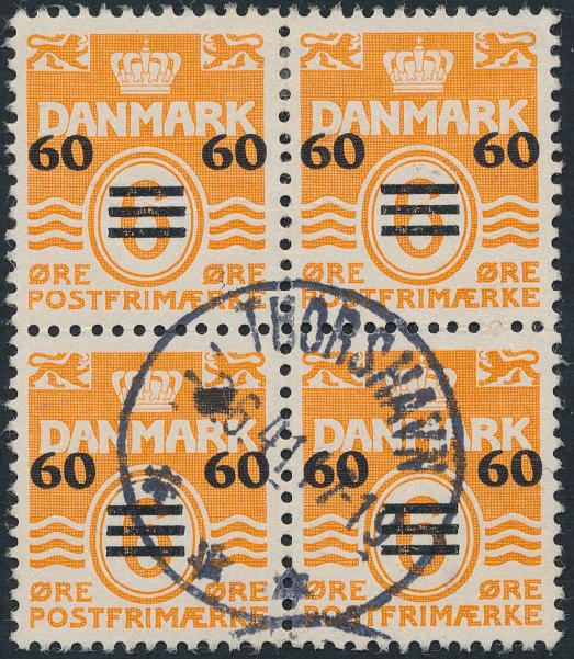 1940. 60/6 øre, yellow. 1.issue. Used block of 4. Small paperfaults in upper pair. AFA 6400+