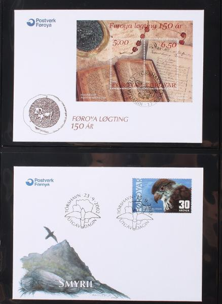 Faroe Islands. 1975-2009. FDC. Box with 7 albums, almost complete incl. newer minisheets