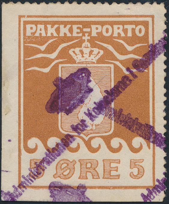 1910. 5 øre, brown. 2.printing, pos. 21. Imperforated on 2 sides