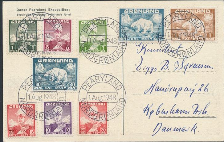 1948. A beautiful postcard to Denmark, cancelled PEARYLAND NORDGRØNLAND 1 Aug. 1948