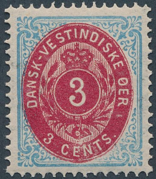 1876. 3 cents, blue/carmine. 2.printing, pos. 80. Perfect centred NH copy. AFA 1700. Cert. Nielsen: PRAGTEKSEMPLAR. (2009)