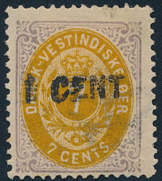 "1887. 1/7 cents. Variety ""DOUBLE OVERPRINT"". Unused. Cert. Grønlund"