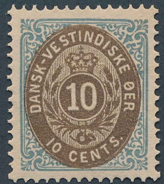 1888. 10 cents, greyblue/brown, 6a.printing. Perfect centred NH copy in very fresh quality. AFA: -. Cert. Nielsen: Luxuseksempla