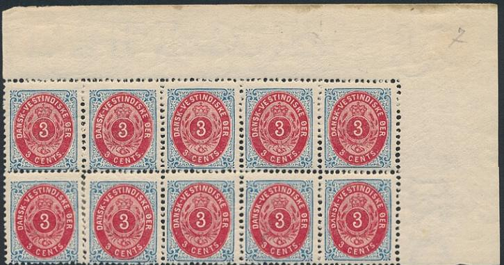 1898. 3 cents, perf. 12. Block of 10 with 8 NH stamps