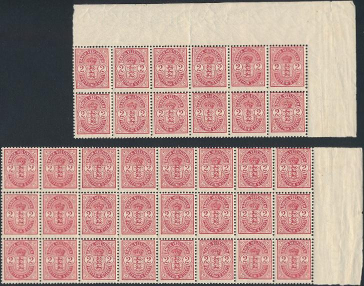 1903. 2 cents, red. Fine NN block of 12 + block of 24. AFA 5400++