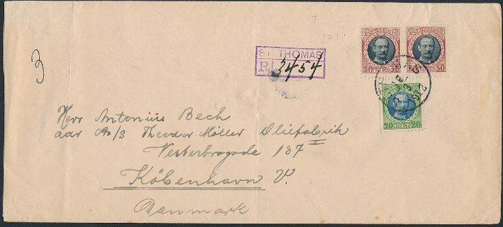 1907. Fr.VIII, 20 Bit and pair 30 Bit on 3.RATE REC-cover to Denmark