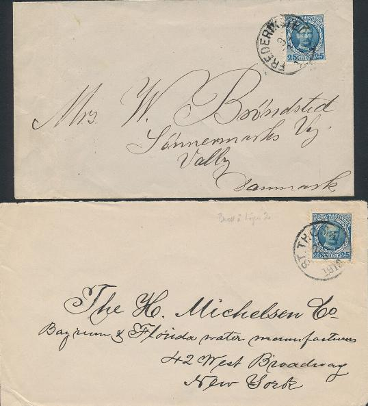 """1907. Fr.VIII, 25 Bit. Variety """"Damaged foot of 2"""". 2 covers with the same variety sent to USA and Denmark"""
