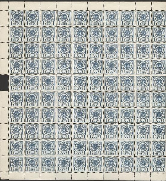 1902. Poatage Due, 1 cent, blue. NH sheet with part of margin missing, a few stamps with faults. AFA 10.000