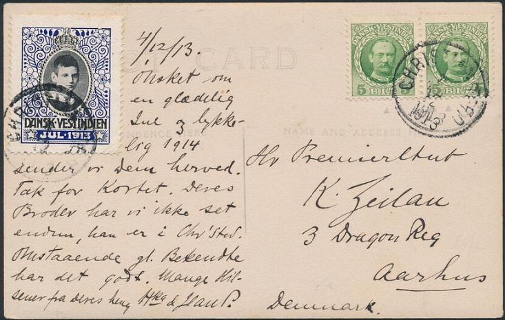 1913. Christmas seal on fine postcard to Denmark