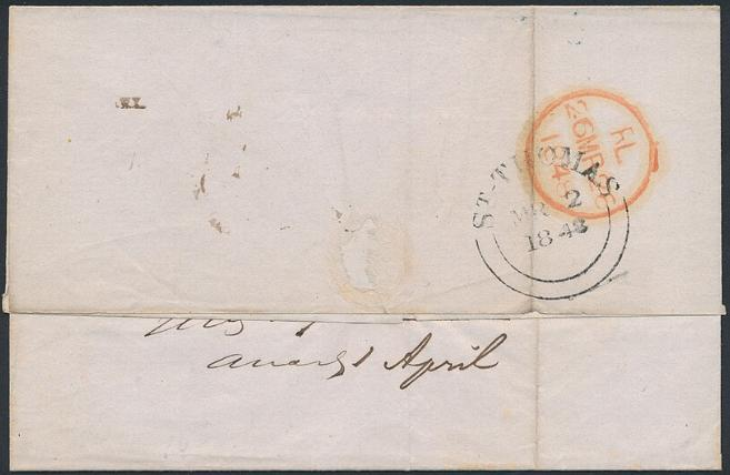 1848. Cover from St. Thomas to London 2.3.1848