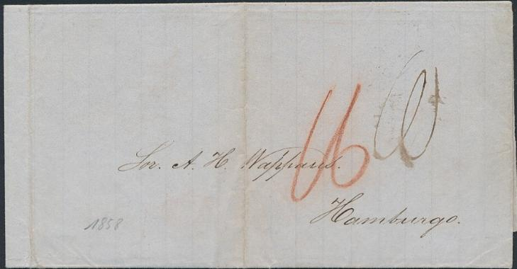 "1858. ""Duplicate-cover"" sendt via St. Thomas and London to Hamburg"