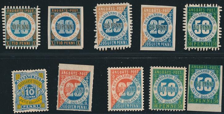 Finland. ÅNGBÅTS-POST. 10 different stamps.