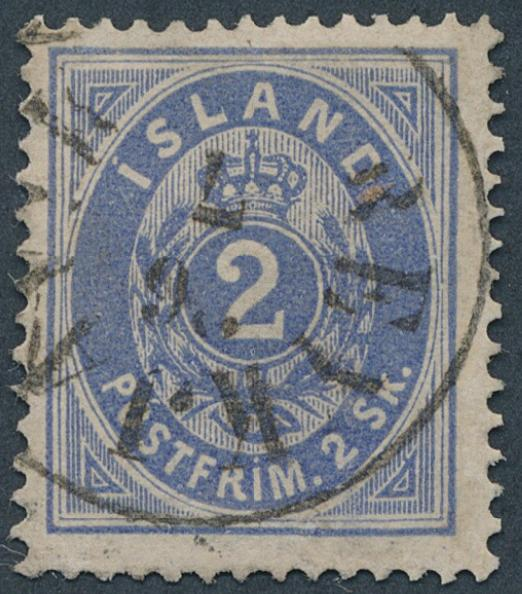 1873. 2 skilling, blue. Used copy with fine clear canc. REYKJAVIK 26.7