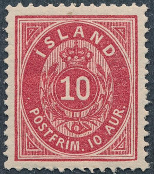 1876. Oval, 10 aur, 4.print. Unused with originla gum. Facit 3000. Cert. Møller EXCELLENT COPY