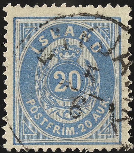 1876. Oval, 20 aur, ultramarin. Very fine used Reykjavik 5.6. Scarce. facit 2400