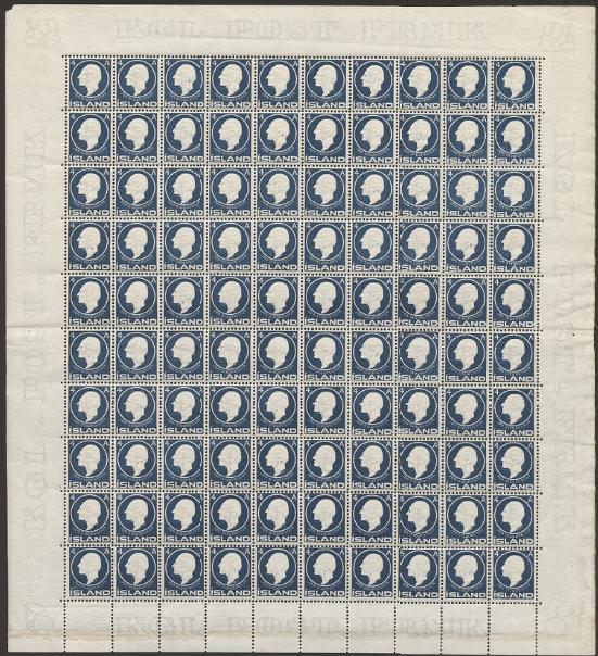 1911. Jón Sigurdsson. 4 aur, blue. Nh SHEET. Facit: 4500+