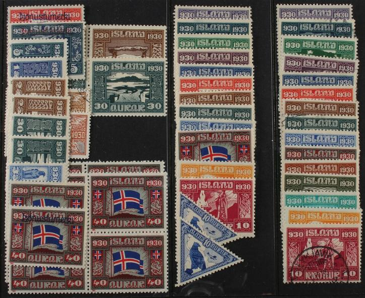 1930. Parliament. Stockcard with complete set, extra values, some Official, blocks of 4 etc. High cat.v.