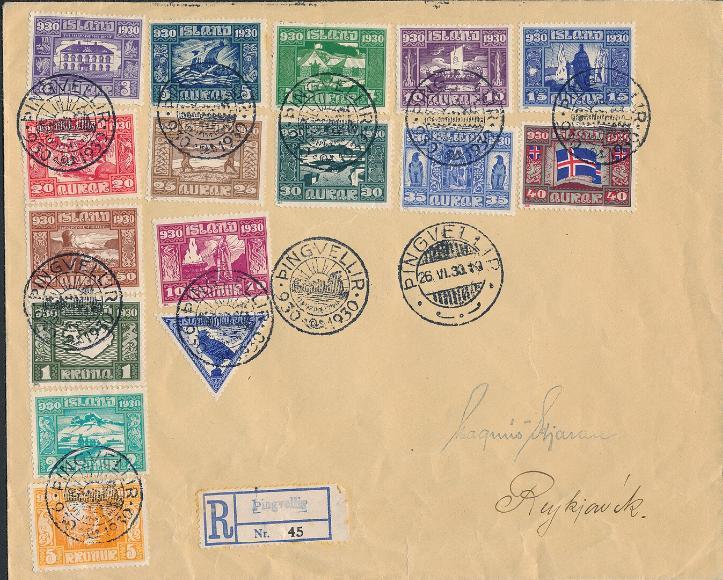 1930. Parliament. Complete set on cover. Cancelled PINGVELLIR 26.6.1930
