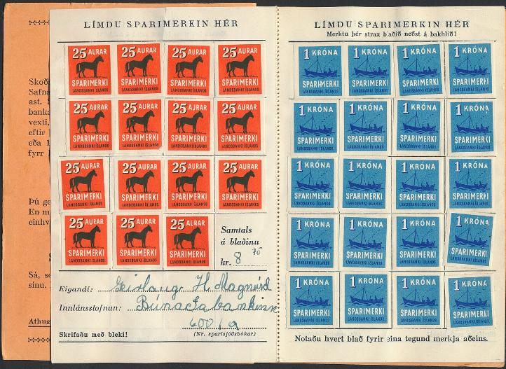 Iceland. Savingsbook with a total of 155 stamps from values 25 aur to 5 kr. Rare!