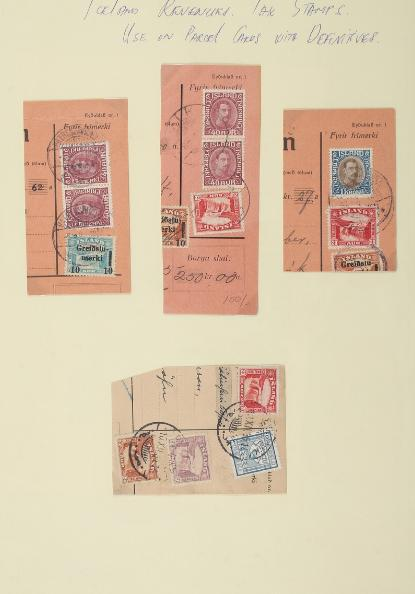 Revenues. Stockcard with parcel card fragments with rare mixed frankings of stamps and TAX ISSUES