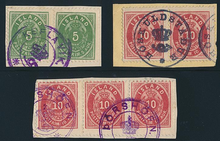 Iceland. Cancellations. 3 small fine papercuts with better CROWN-cancellations