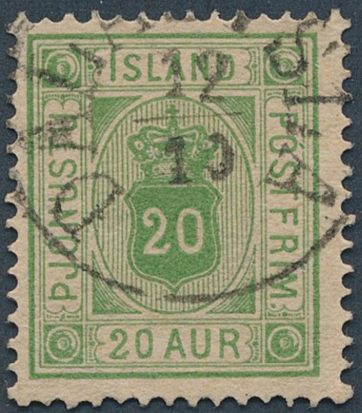 Iceland. Cancellations. Official 20 aur, yellowgreen. Fine upright canc. DALASYSLA 12.10. Facit: R4