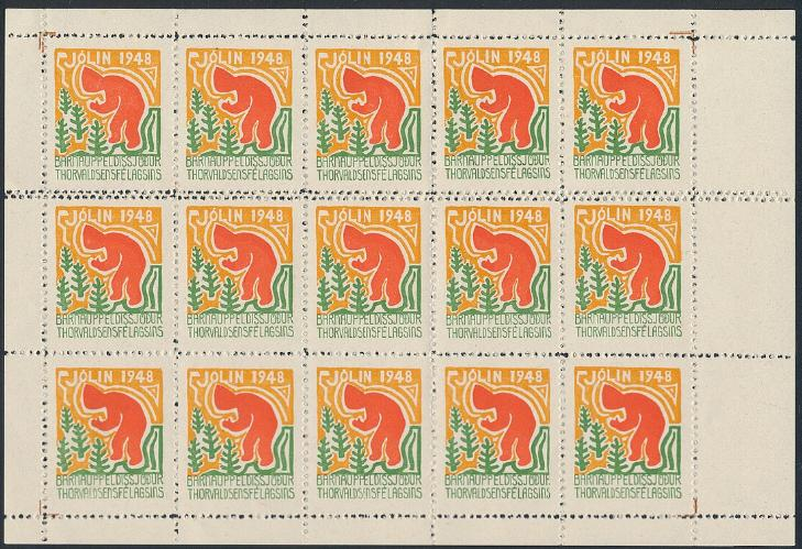 Iceland. 1948. Christmas. Full sheet with perforation error in horizontal line
