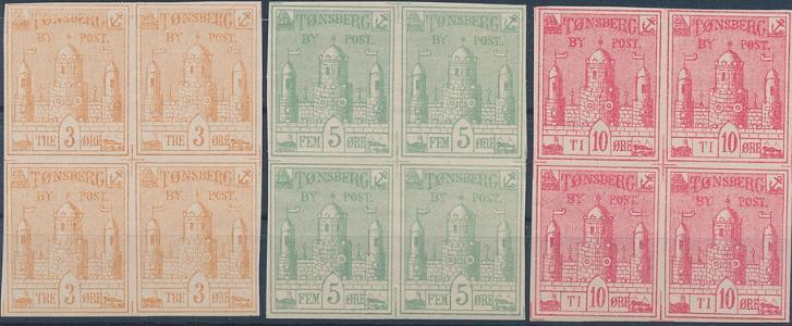 Tønsberg Townpost. 1884. 3-10 øre in nh blocks of FOUR