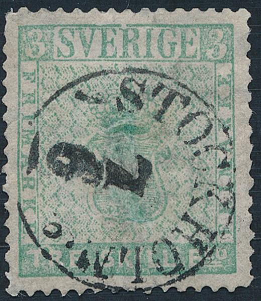 1855. 3 Sk.Bco. Fine looking copy with several repairs. Canc. Stockholm 7.6. Cat.v. 42.000. Cert. H. Obermüller Wilén