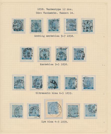 1858. 12 Öre, blue/ultramarin. 3 pages. Ex. Grønlund