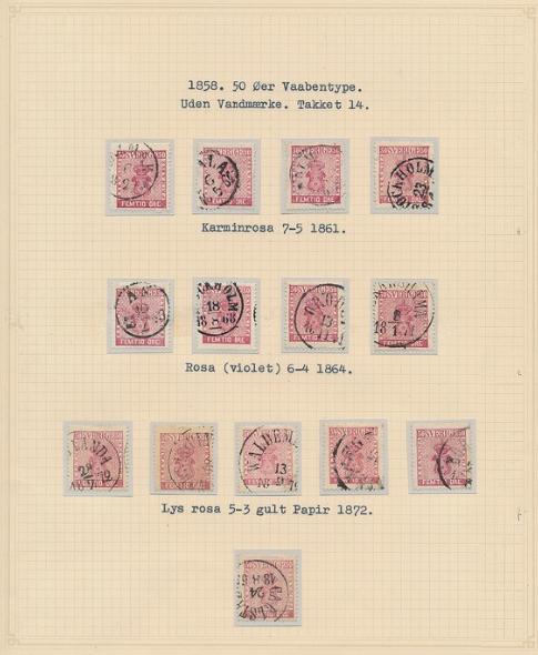 1858. 50 Öre, carmine. 2 pages. Ex. Grønlund