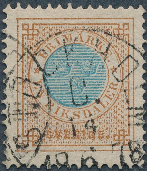 1877. 1 Riuksdl. perf. 13. Fine used copy. Facit 4000. Cert. grønlund