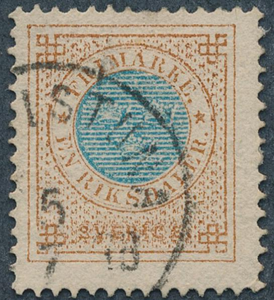 1877. 1 Riksdl. perf. 13. Used copy with slightly short perf at top. Facit 4000. Cert. grønlund