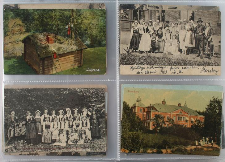 Sweden. Postcards. 2 albums with more than 500 postcards from period ca. 1900-1950. Please se scan's