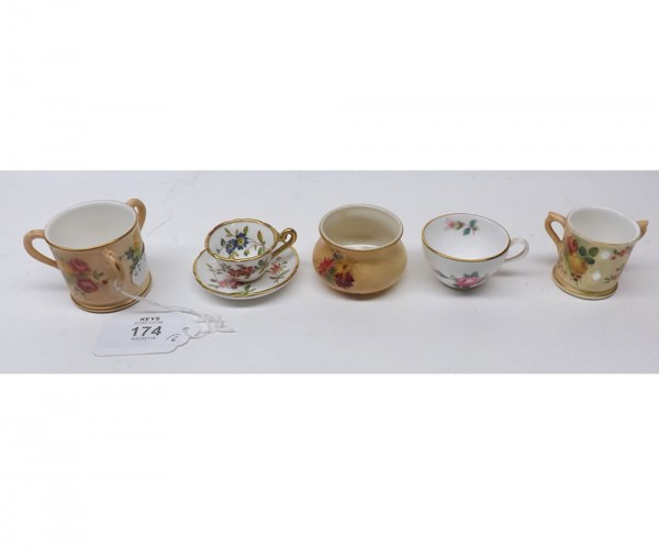 Mixed Lot: two Royal Worcester floral blush miniature three-handled tygs; a miniature Worcester preserve pot; a miniature Hammer