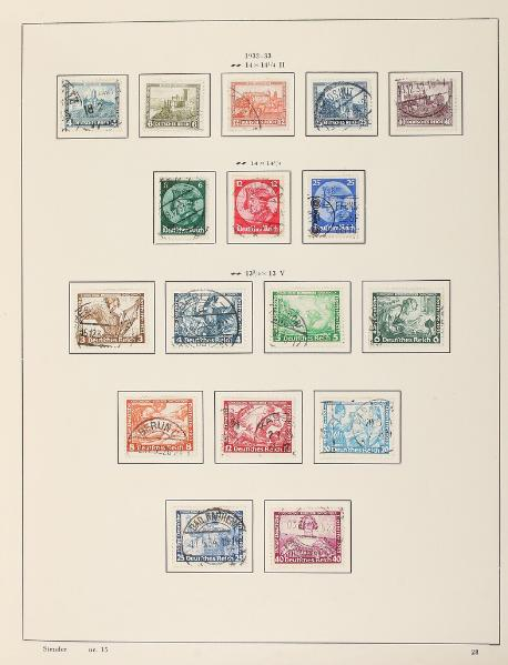 German Reich. Well-filled colletion in a Stender-album (starts in 1920) with many better stamps, sets and minisheets