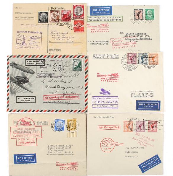 German Reich. AIRMAIl. 6 Airmail-covers.