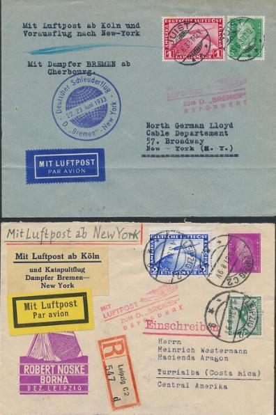 German Reich. 1931-1933. 2 Zeppelin-covers